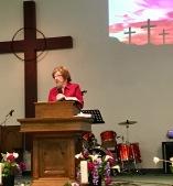 Pastor Linda Marshall preaches.