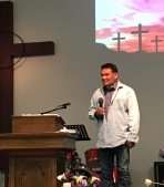 Pastor Paul Mitchell preaches.